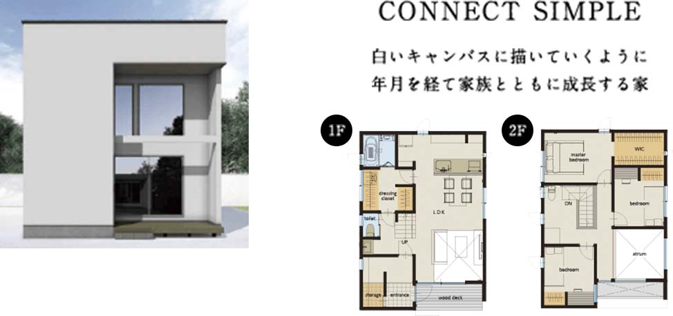CONNECT SIMPLE 白いキャンバスに描いていくように年月を経て家族とともに成長する家
